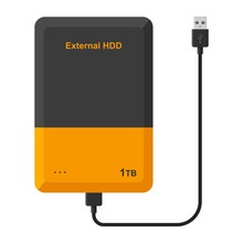 External Hard Disk Drive With USB Cable Isolated On White Background. Portable Extern HDD. Memory Drive Vector Illustration