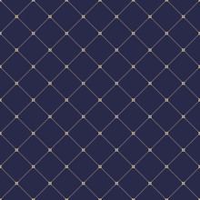 Geometric Dotted Navy Blue And Golden Pattern. Seamless Abstract Modern Texture For Wallpapers And Backgrounds