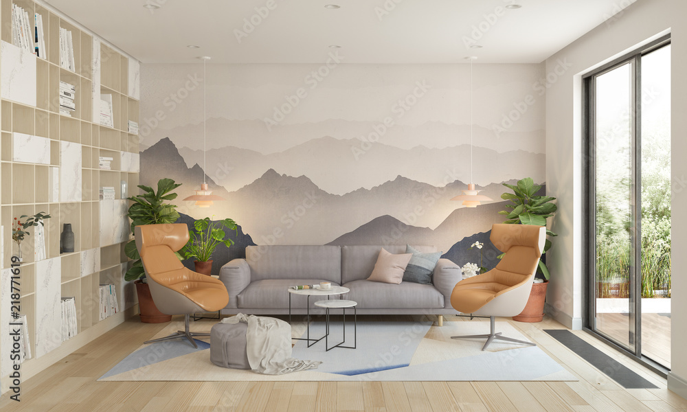 Fototapety, obrazy: Modern living room, 3d illustration