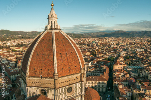 In de dag Florence Panoramic view of Florence, buildings roofs, cathedral dome