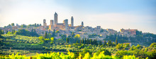 Panorama Of The Beautiful Ancient City Of San Gimmignano At Sunset, Tuscany, Italy. Europe