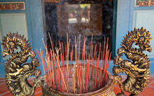 Censer With Lots Of Burning Incense Sticks In Guangong Temple Tainan Taiwan