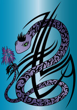 Violet Snake With Flower Tribal Tattoo On Blue Background