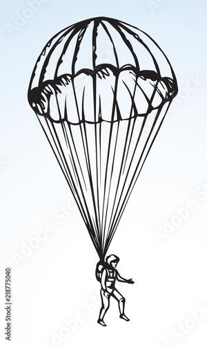 Parachutist. Vector drawing Wallpaper Mural