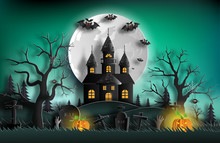 Paper Art Style Of Haunted Hou...