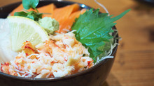 Kaisendon Or The Raw Fish On Rice Comes With Have Salmon ,Ikura , Crab, Hotate . It Is Japanese Food.
