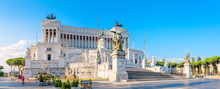 Panoramic Of The Monument Of Victor Emmanuel II At Venezia Squara At Sunrise. Rome, Italy