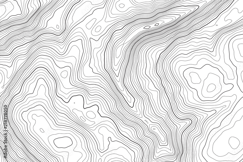Fototapety, obrazy: Vector contour topographic map background. Topography and geography map grid abstract backdrop. Business concept. Vector illustration