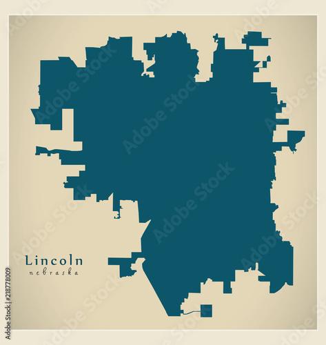 Fotografia  Modern City Map - Lincoln Nebraska city of the USA