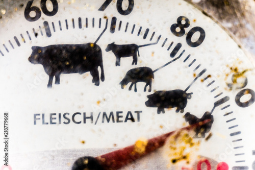 Wall Murals Newspapers Close-up of the cut of an old mechanical grill thermometer, dirty and ugly at the end of the grill season