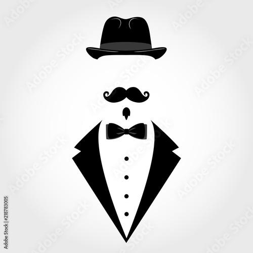 Fotografie, Tablou Suit icon isolated on white background. Gentleman icon.
