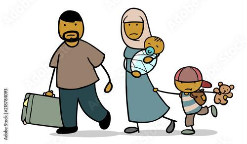 Islamische Familie sucht Asyl als Flüchtlinge Fototapete