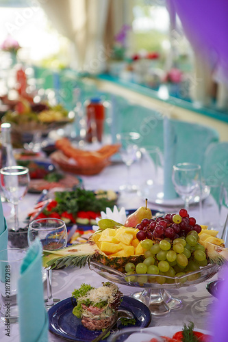 a furnished table for a party Canvas Print
