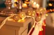 Glowing Christmas garland on mantelpiece