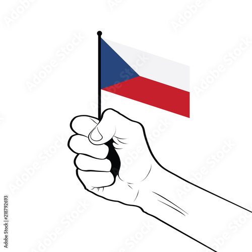 Clenched fist raised in the air holding the national flag of Czech Republic Poster
