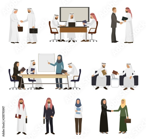 Arab businessman vector arabian business people handshaking to his business part Slika na platnu