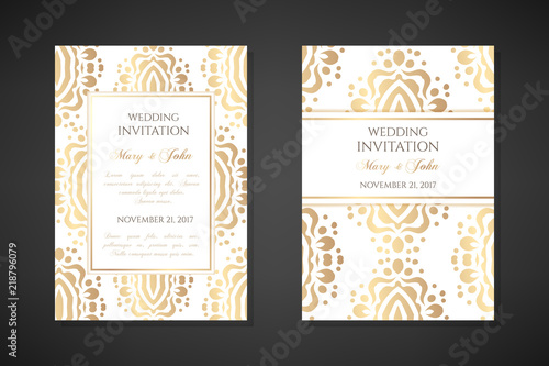 Fototapety, obrazy: Wedding invitation templates. Cover design with ornaments and white background. Vector decorative vertical posters with copy space.