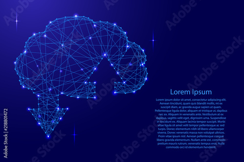 Obraz Cloud wireframe storage sign with two arrows up and down from futuristic polygonal blue lines and glowing stars for banner, poster, greeting card. Vector illustration. - fototapety do salonu