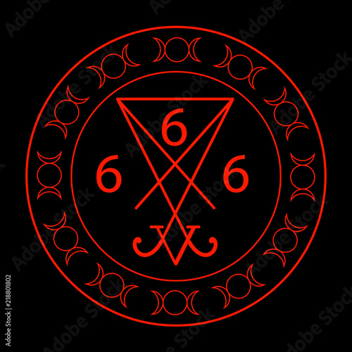 Obraz na plátne  666- the number of the beast with the sigil of Lucifer symbol