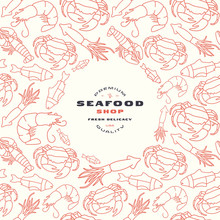 Seafood Shop Label And Frame W...