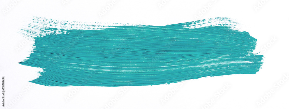 Fototapety, obrazy: Turquoise brush stroke isolated over white background