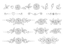 Art Hand Drawn Set Of Rose Flo...
