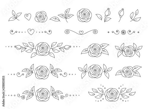 art hand drawn set of rose flower icons