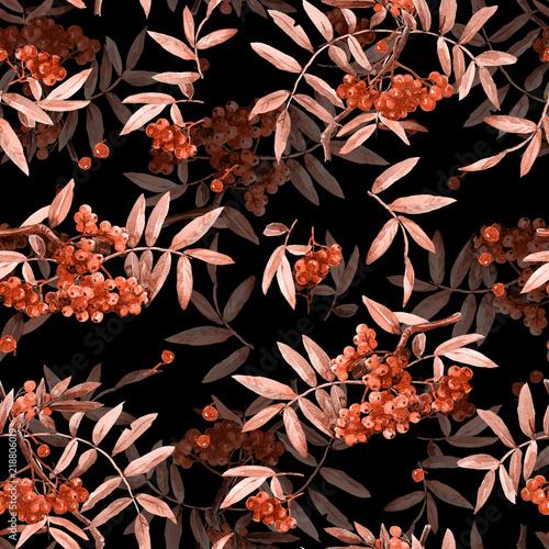 wzor-z-galazek-z-jagod-jarzebiny-malowane-akwarela