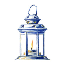 Christmas Candle Holder, Watercolor Illustration.