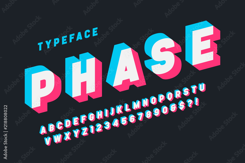 Fototapety, obrazy: Glitched display font design, alphabet, typeface, letters