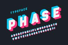 Glitched Display Font Design, Alphabet, Typeface, Letters