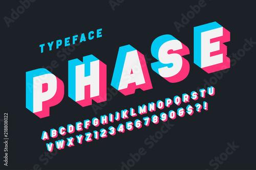 Vászonkép Glitched display font design, alphabet, typeface, letters