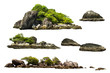 canvas print picture - The trees on the island and rocks. Isolated on White background
