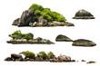 Leinwandbild Motiv The trees on the island and rocks. Isolated on White background