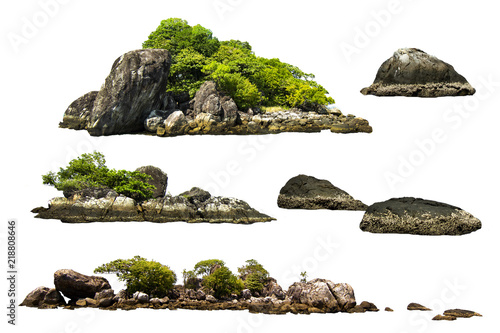 Ile The trees on the island and rocks. Isolated on White background