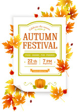 Autumn Thanksgiving Festival. Fall Party Vector Invitation. Autumn Party Vector Poster Template. Invite Your Harvest Party.