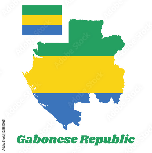 Fotografie, Obraz  Map outline and flag of Gabon, A horizontal triband of green, gold and blue