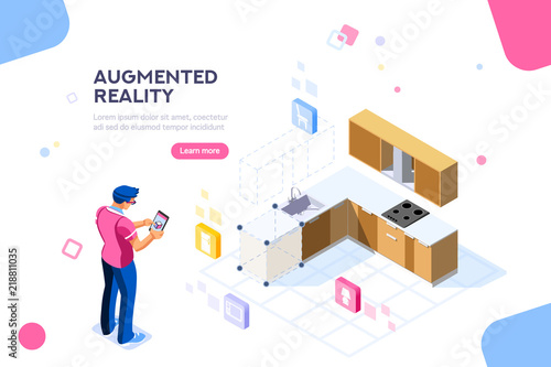 Augmented reality visualization on device Canvas Print