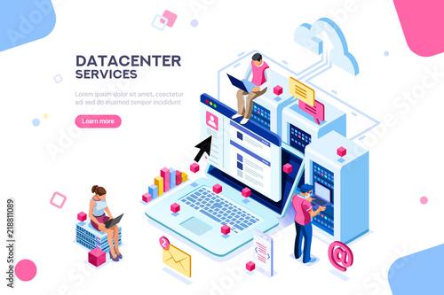 Foto Internet datacenter connection, administrator of web hosting concept