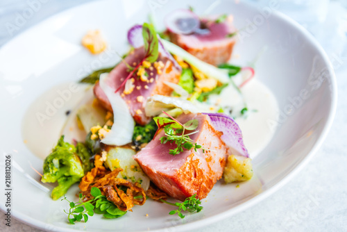 Fotomural Fine dining cuisine - french dish on the table