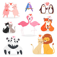 Couple In Love Vector Animal Lovers Characters Panda Or Cat On Loving Date On Valentines Day And Flamingo Kissing Loved Bird Illustration Hearted Lovely Set Isolated On White Background