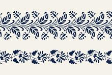 Set Of 2 Seamless Woodblock Printed Indigo Dye Ethnic Floral Borders. Traditional Oriental Ornament Of India, Flower Garland Motif, Navy Blue On Ecru Background. Textile Design.