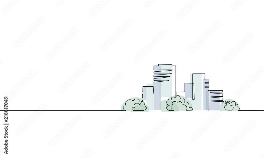 Pojedyncza ciągła budowa jednego budynku miejskiego. Architektura dom miejski apartament pejzaż koncepcja projekt szkic zarys ilustracji wektorowych <span>plik: #218817049 | autor: LuckyStep</span>