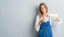 Beautiful Young Woman Over Grunge Grey Wall Driking A Glass Of Milk With A Confident Expression On Smart Face Thinking Serious