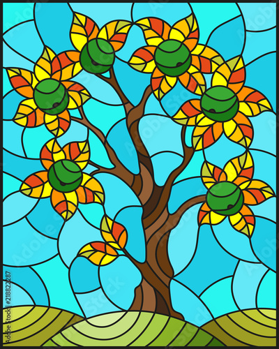 Naklejki witrażowe  illustration-in-stained-glass-style-with-an-apple-tree-standing-alone-on-a-hill-against-the