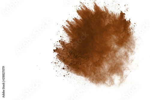 Obraz Dry soil explosion isolated on white background. - fototapety do salonu