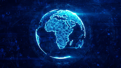 Digital globe made of plexus bright glowing lines. Detailed virtual planet earth. Technology structure of connected lines, dots and particles forming world. Africa continent. 3d rendering