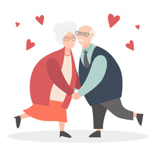 Grandparents Are Together Forever In Love. Happy Grandparents Day. Vector Cartoon Illustration. Grandpa And Grandma. Elderly Couple. Old Woman And Old Man Together.