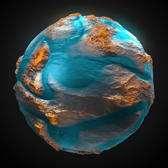 FototapetaAbstract planet isolated on black background. Fantasy globe with continents and oceans. 3d rendering