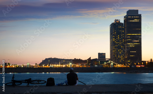 Barceloneta beach in evening dusk Canvas Print